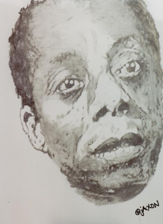 Author Drawing - James Baldwin by B Jaxon
