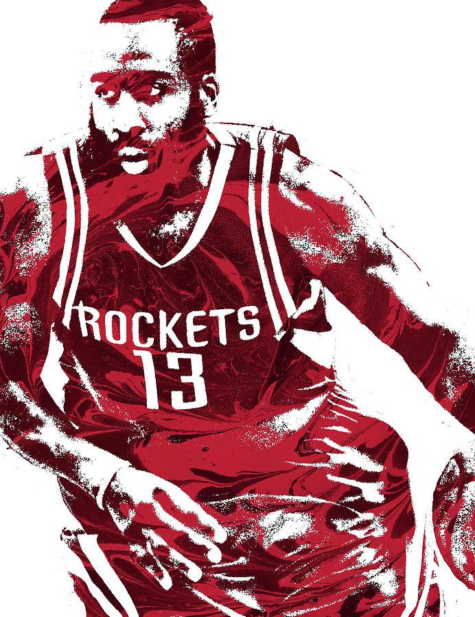 James Harden Mixed Media - James Harden Houston Rockets Pixel Art 3 by Joe Hamilton