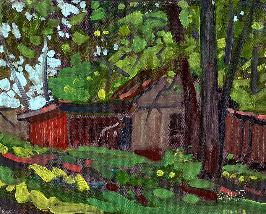 Plein Air Painting - Jamess Barn by Donald Maier