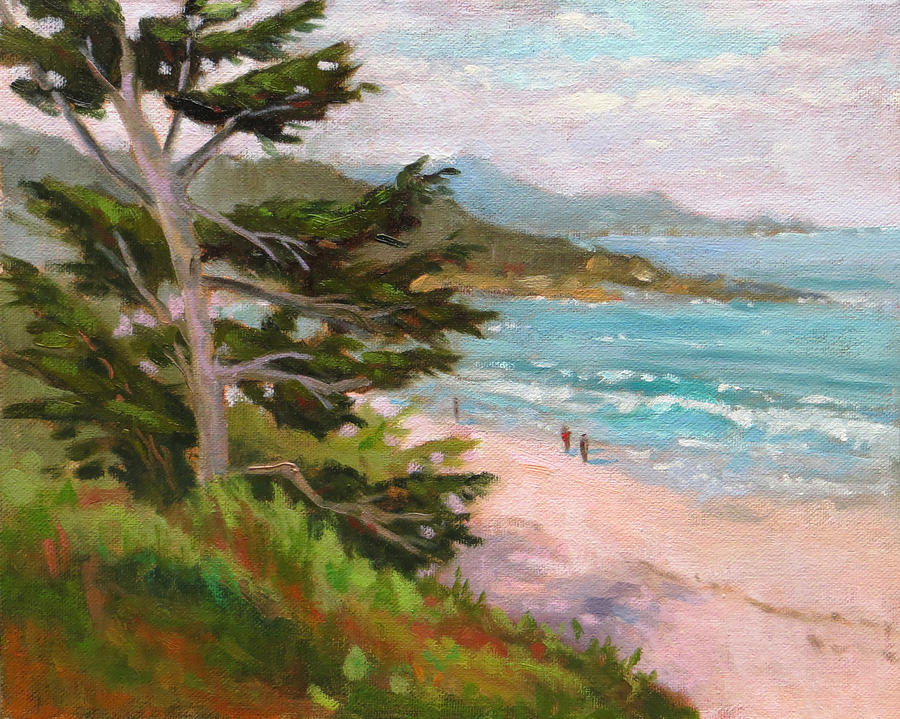 California Seascape Painting - Early Morning Walk by Rhett Regina Owings