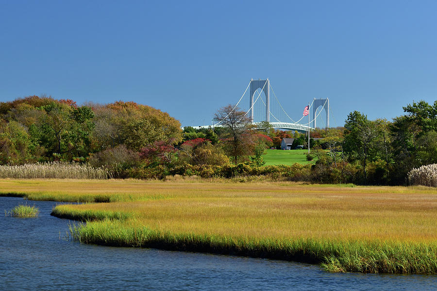 Marsh Photograph - Jamestown Marsh With Pell Bridge by Nancy De Flon