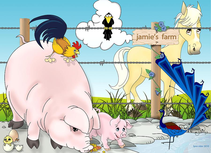 Horse Painting - Jamies Farm by Lynn Rider