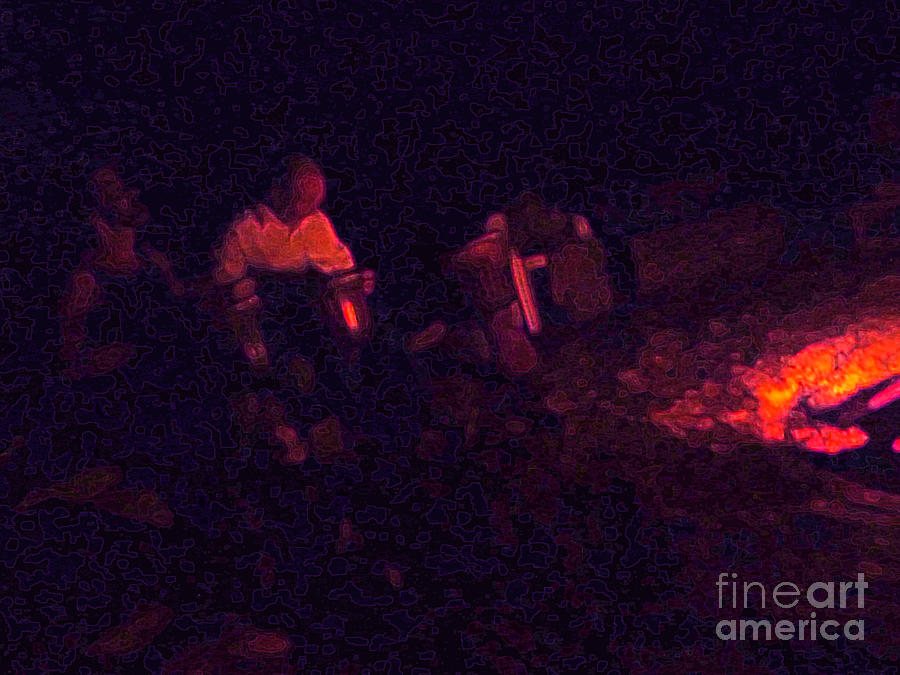 Night Photograph - Jamming By The Fire by JoAnn SkyWatcher