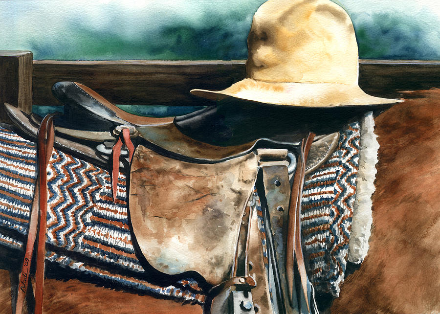 Saddle Painting - Janessas Hat by Nadi Spencer
