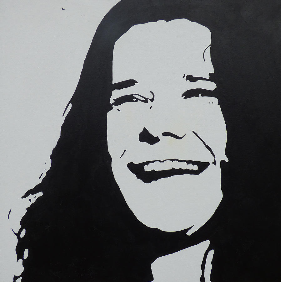 Icon painting janis joplin black and white abstract urban art music art pop art by