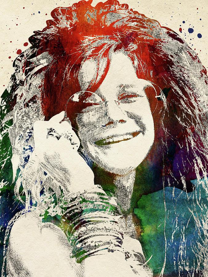 Janis Joplin Digital Art - Janis Joplin Portrait by Mihaela Pater