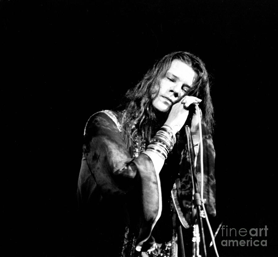 Janis Joplin Photograph - Janis Joplin Psychedelic Soul Queen On The Mic Fine Art Print by Globe Photos
