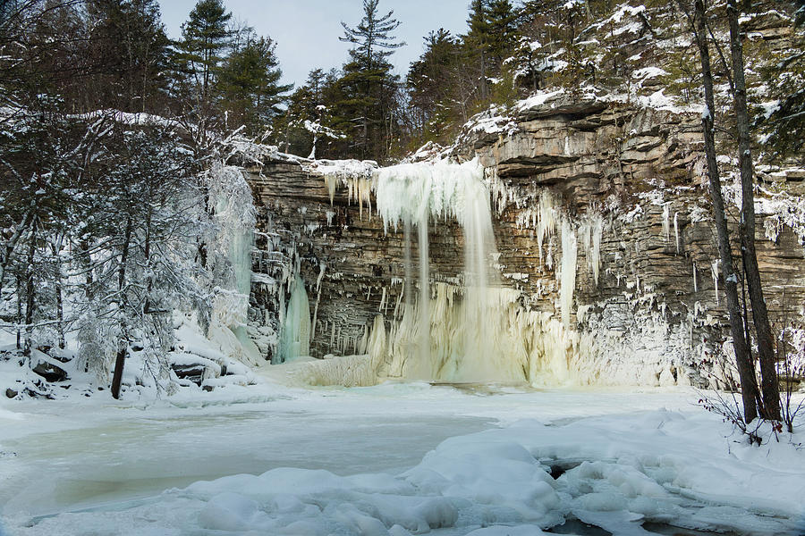 Waterfall Photograph - January Morning at Awosting Falls by Jeff Severson