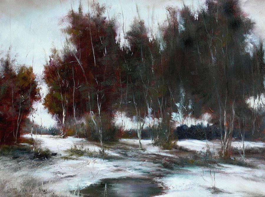 Winter Landscape Painting - January Thaw by JoAnne Lussier