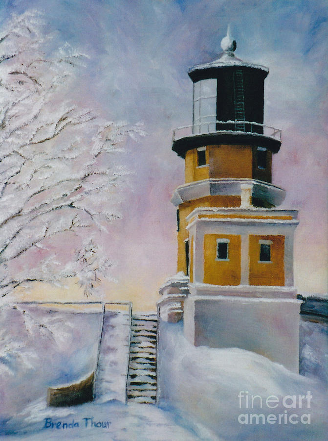 Lighthouse Painting - Januarys Light by Brenda Thour