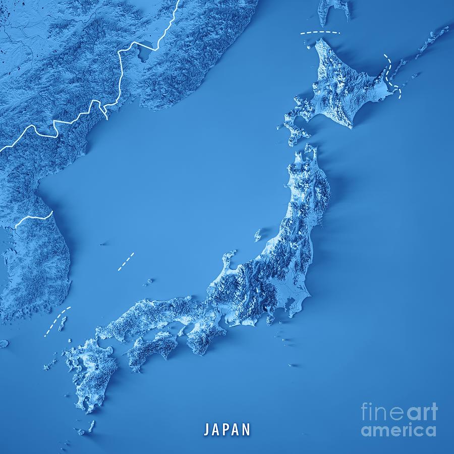 Aerial Map Of Japan.Japan 3d Render Topographic Map Blue Border Digital Art By Frank