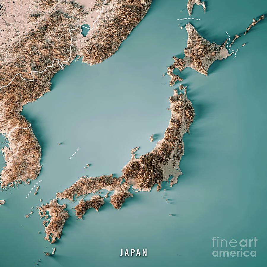 Japan 3d Render Topographic Map Neutral Border Digital Art By
