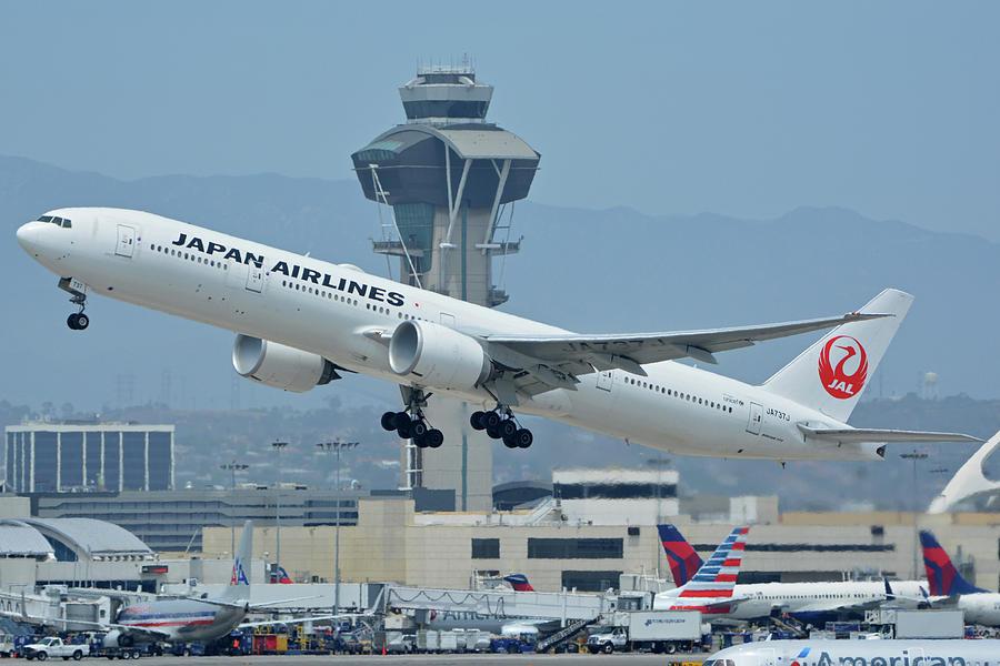 Airplane Photograph - Japan Airlines Boeing 777-346er Ja737j Los Angeles International Airport May 3 2016 by Brian Lockett