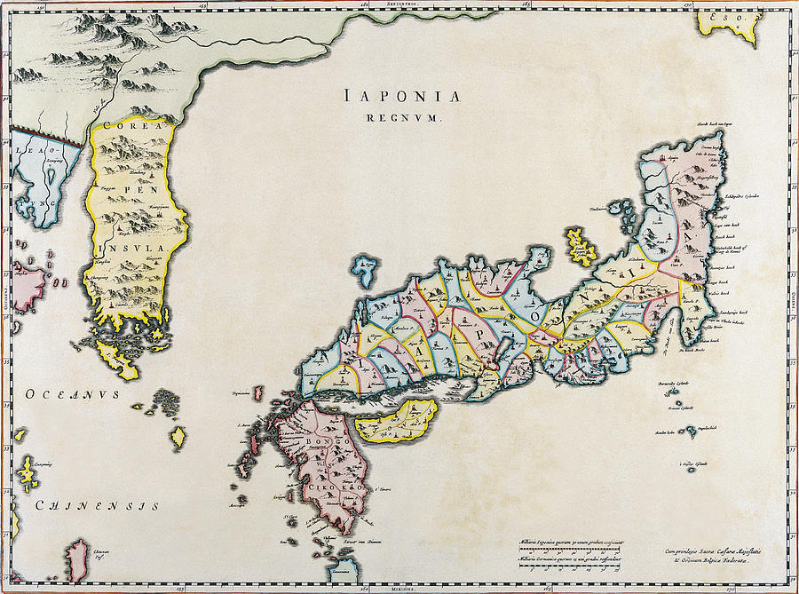 Japan And Korea Map Netherlands Photograph By Daniel Hagerman - Map of japan and korea