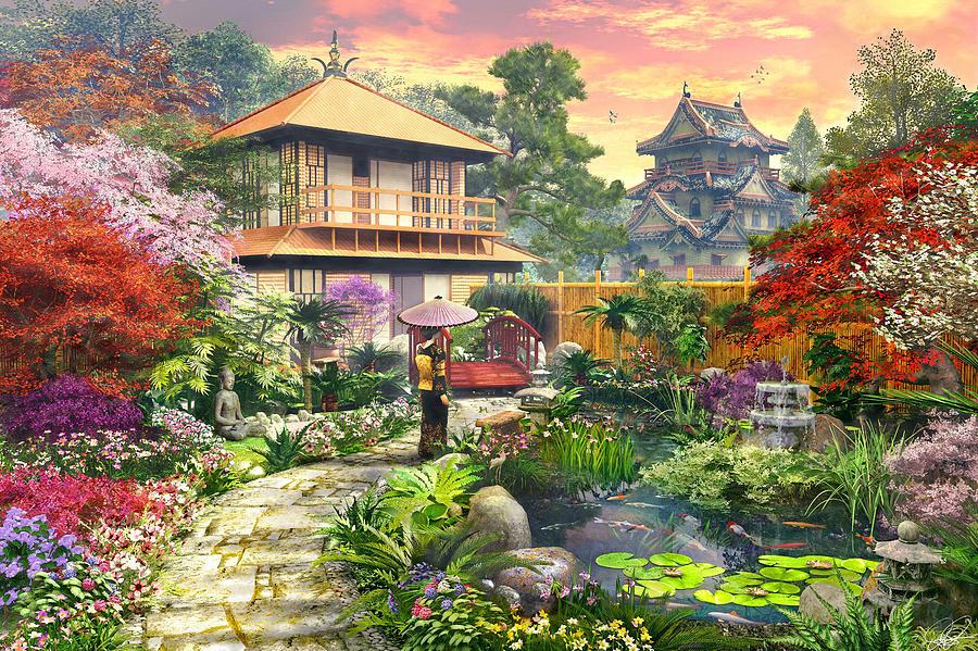 Japan Garden Variant 2 Digital Art by Dominic Davison