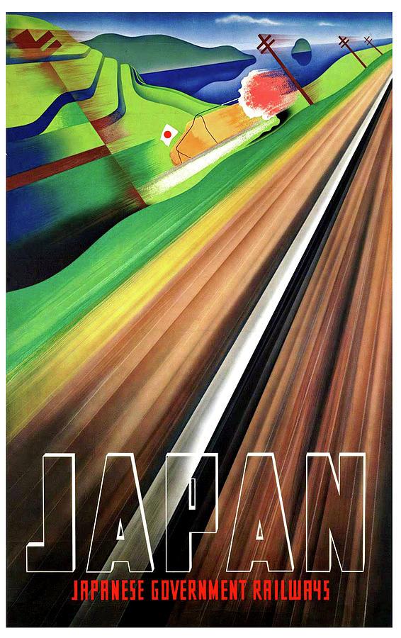 Japan Painting - Japan, Japanese Railways, Travel Poster by Long Shot