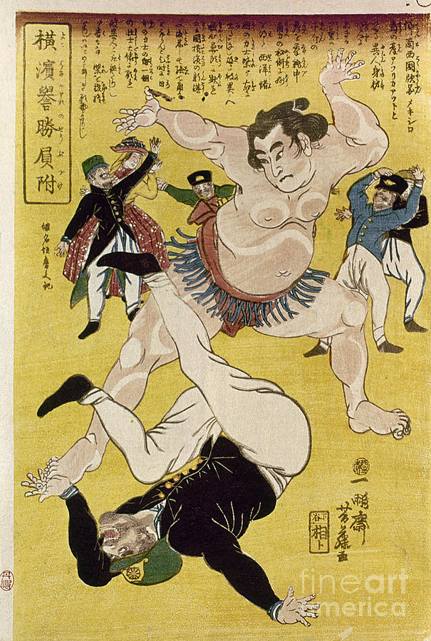 1861 Photograph - Japan: Sumo Wrestling by Granger
