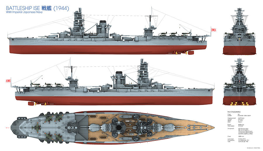 Battleship Digital Art - Japanese Battleship Ise by Carlo Cestra