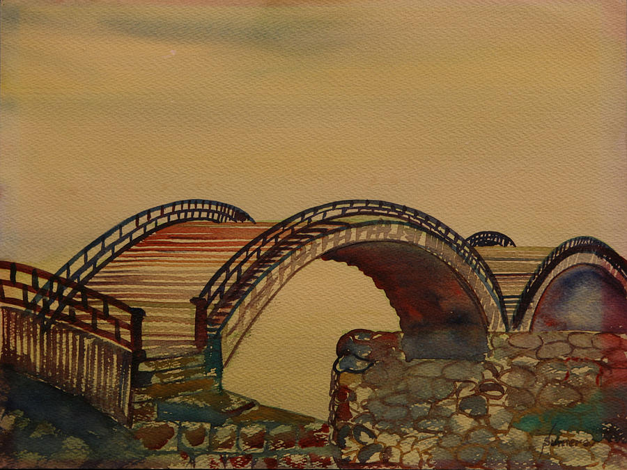 Watercolor Painting - Japanese Bridge by Rosencruz  Sumera