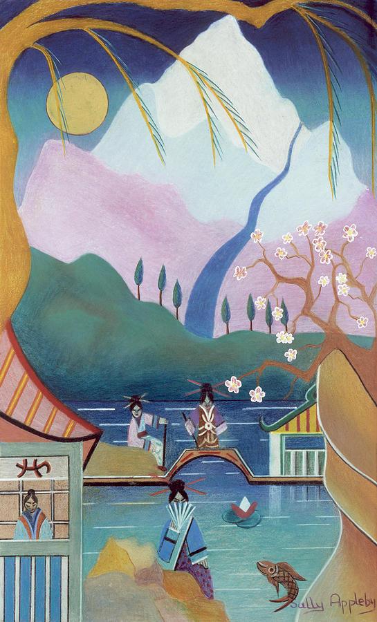 Japanese Figures Mixed Media - Japanese Bridge by Sally Appleby