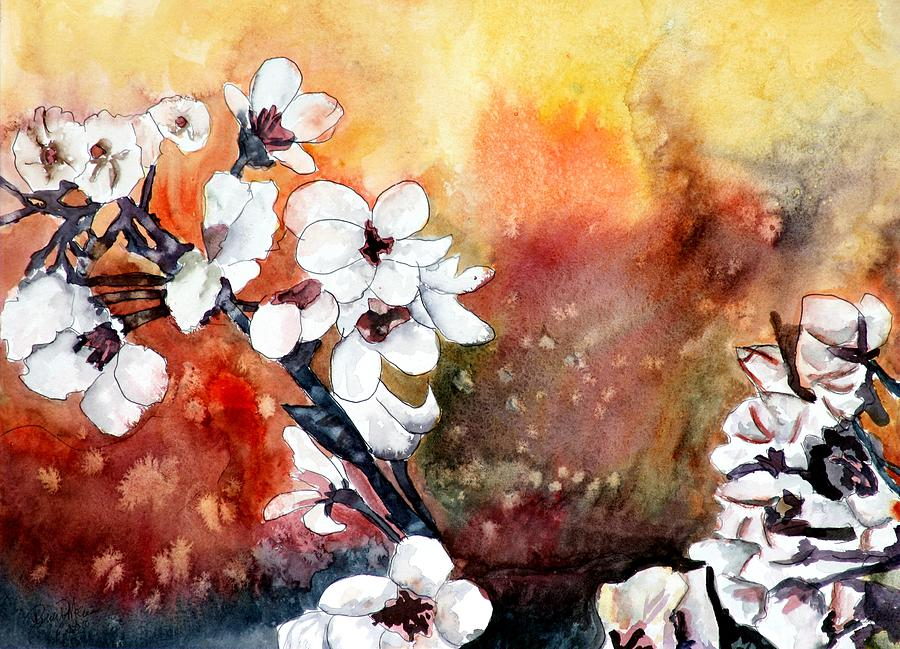 Watercolor Painting - Japanese cherry blossom abstract flowers by Derek Mccrea
