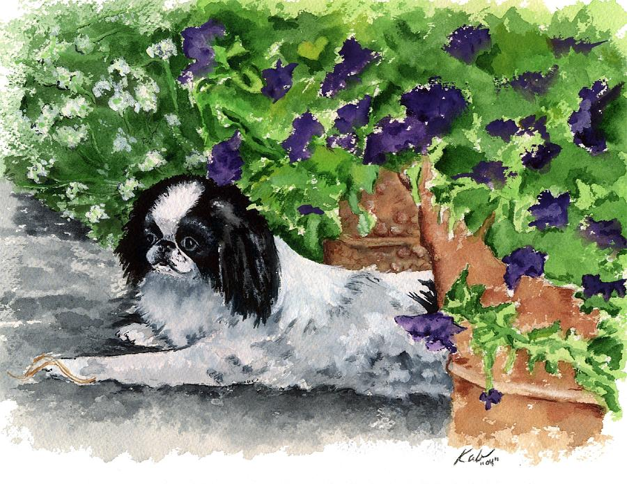 Japanese Chin Painting - Japanese Chin Puppy and Petunias by Kathleen Sepulveda