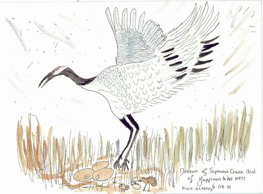 Japanese Crane and her nest by Helen Holden-Gladsky