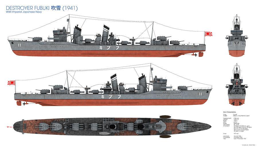 Destroyer Digital Art - Japanese Destroyer Fubuki by Carlo Cestra