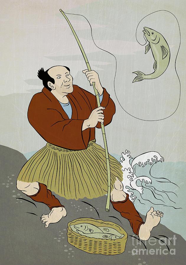 Japanese Fisherman Fishing Catching Trout Fish Digital Art