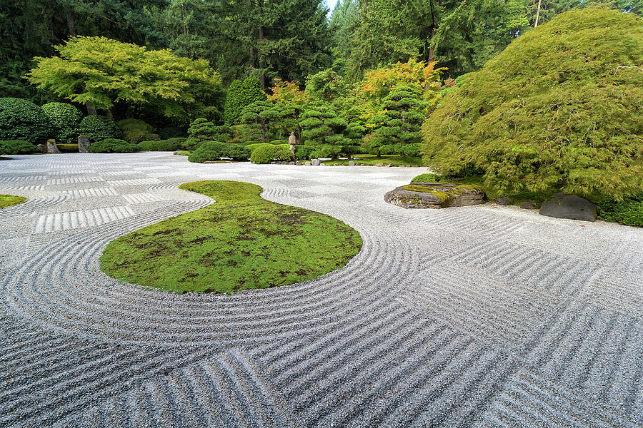 Japanese Photograph - Japanese Flat Garden With Checkerboard Pattern by David Gn