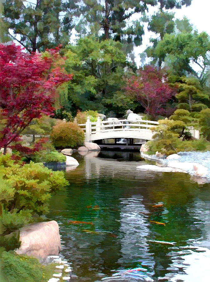 Japanese garden bridge and koi pond painting by elaine plesser for Japanese koi pond garden