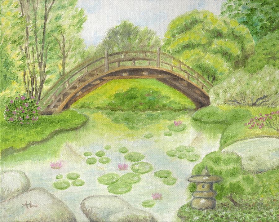 Japanese Garden Bridge Painting By Annamarie Lombardo
