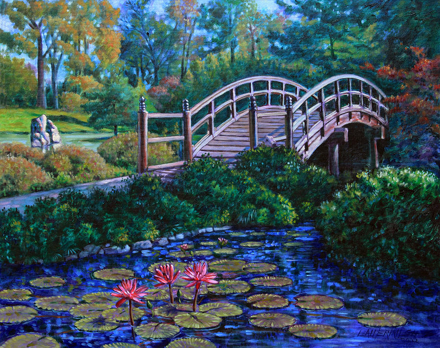 Water Lilies Painting   Japanese Garden Bridge By John Lautermilch