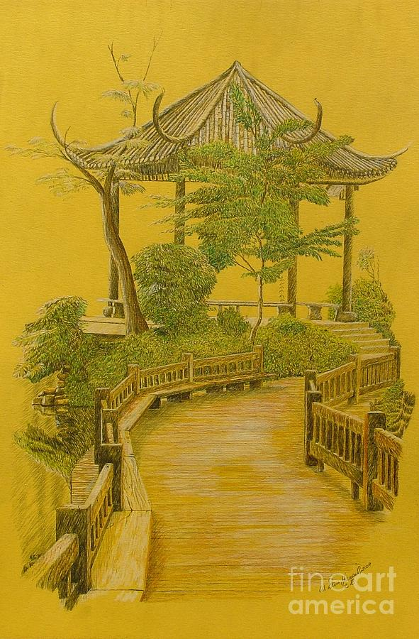 japan drawing japanese garden by dan hausel