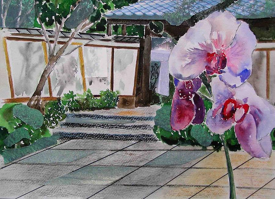 Garden Painting - Japanese Garden by Evguenia Men