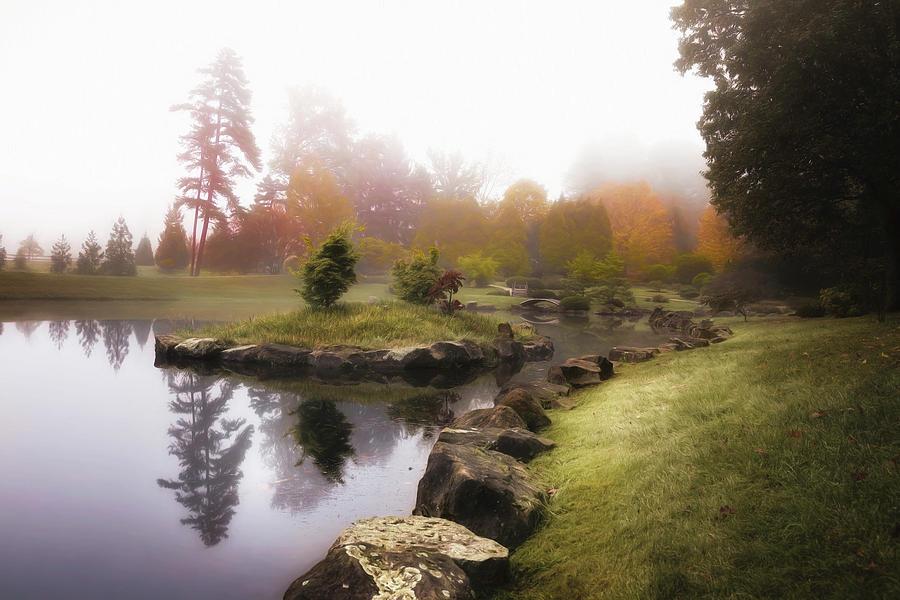 Autumn Photograph - Japanese Garden In Early Autumn Fog by Tom Mc Nemar
