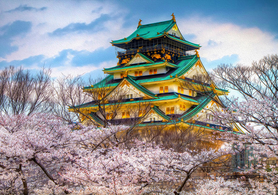 Japan Digital Art   Japanese Garden Pagoda And Sakura In Osaka, Japan By  Michael Novik