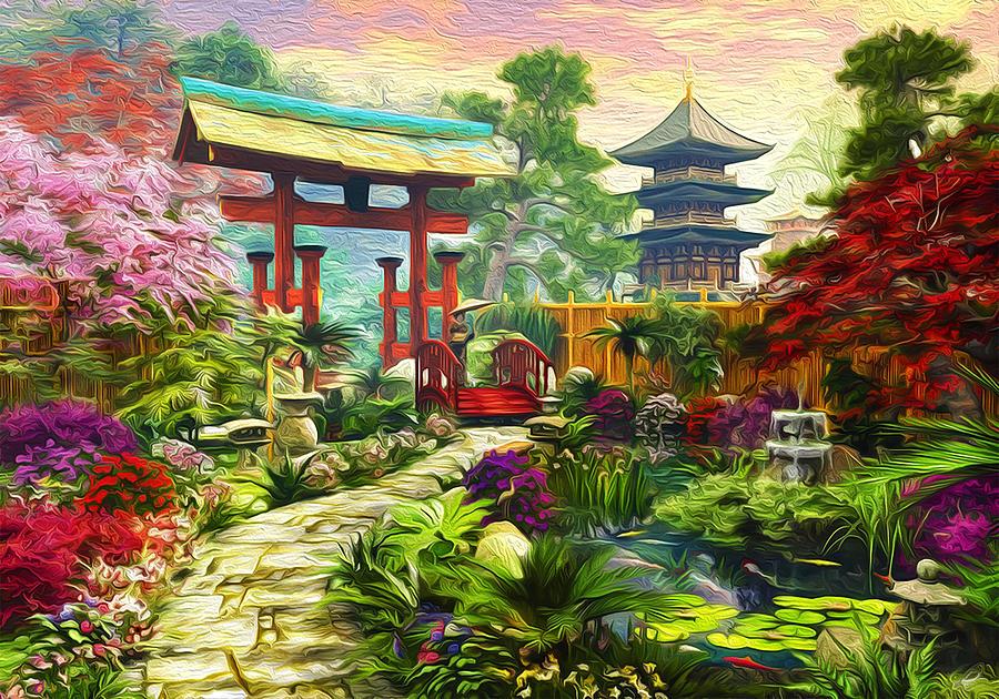 Japan Garden Digital Art   Japanese Garden Pagoda Sakura And Waterfall By  Michael Novik