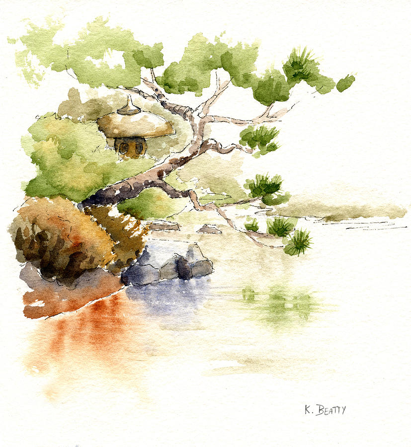 Watercolor Painting - Japanese Garden Pond Sketch by Karla Beatty