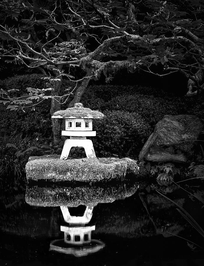 Temple Photograph - Japanese Garden Reflection by Janet Ballard