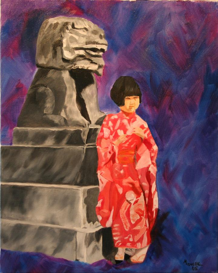 Figurative Painting - Japanese Girl With Chinese Lion by Marilyn Tower