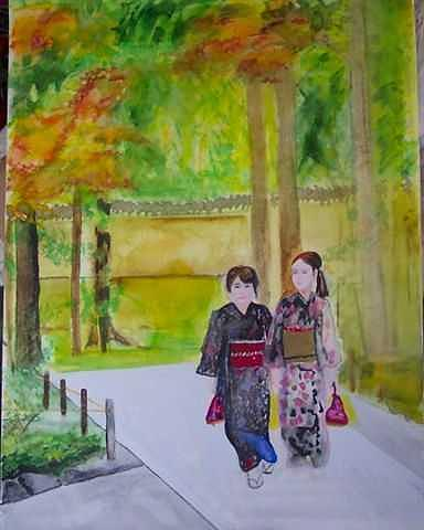 Japanese Girls Painting by Lori Tan
