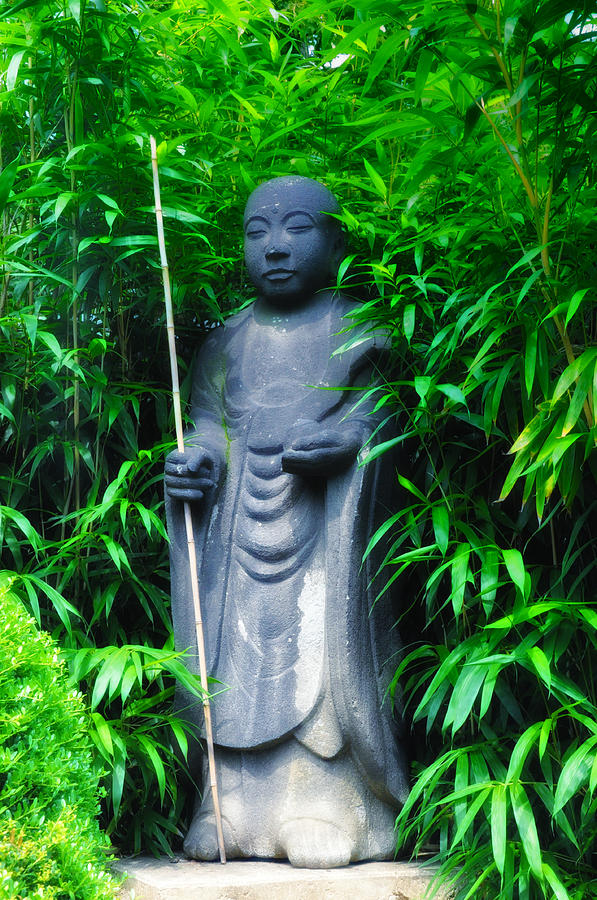 Japanese Photograph - Japanese House Monk Statue by Bill Cannon