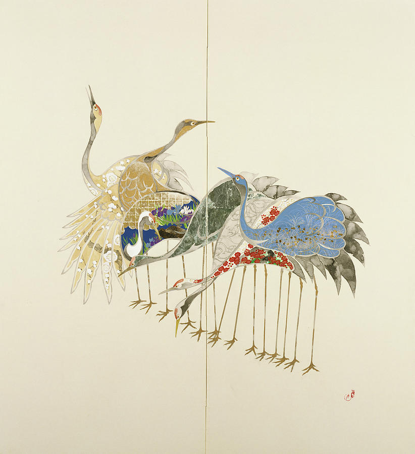 Cranes Painting - Japanese Modern Interior Art #125 by ArtMarketJapan
