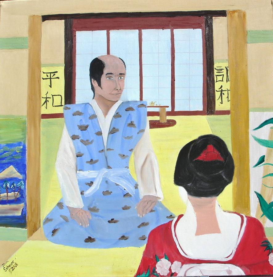 People Painting - Japanese Warrior And His Lady by Donald Schrier