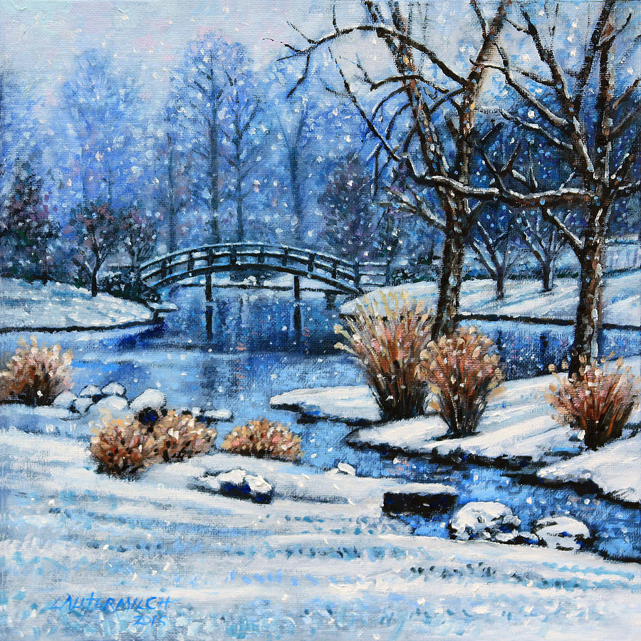Winter Painting - Japanese Winter by John Lautermilch