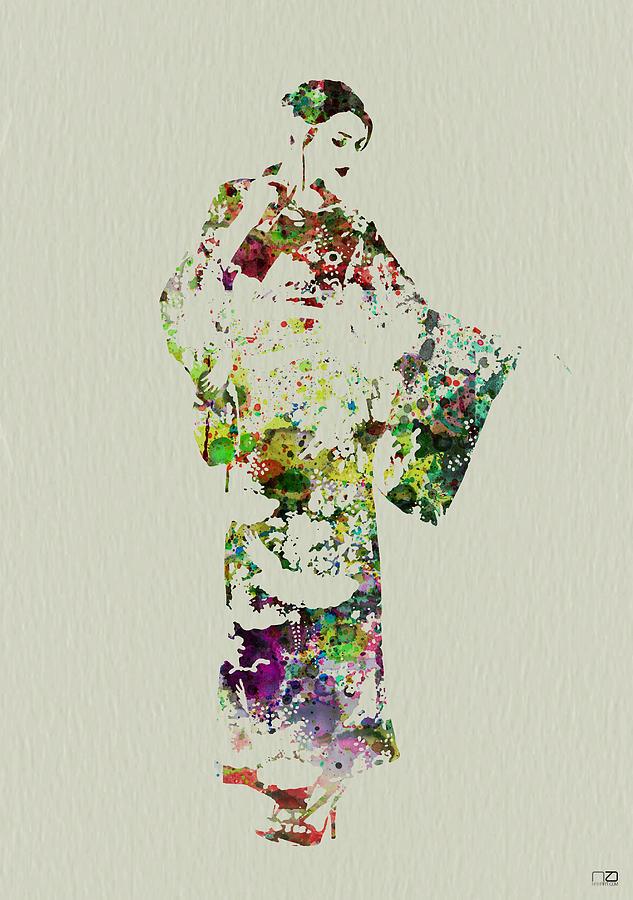 Kimono Painting - Japanese woman in kimono by Naxart Studio