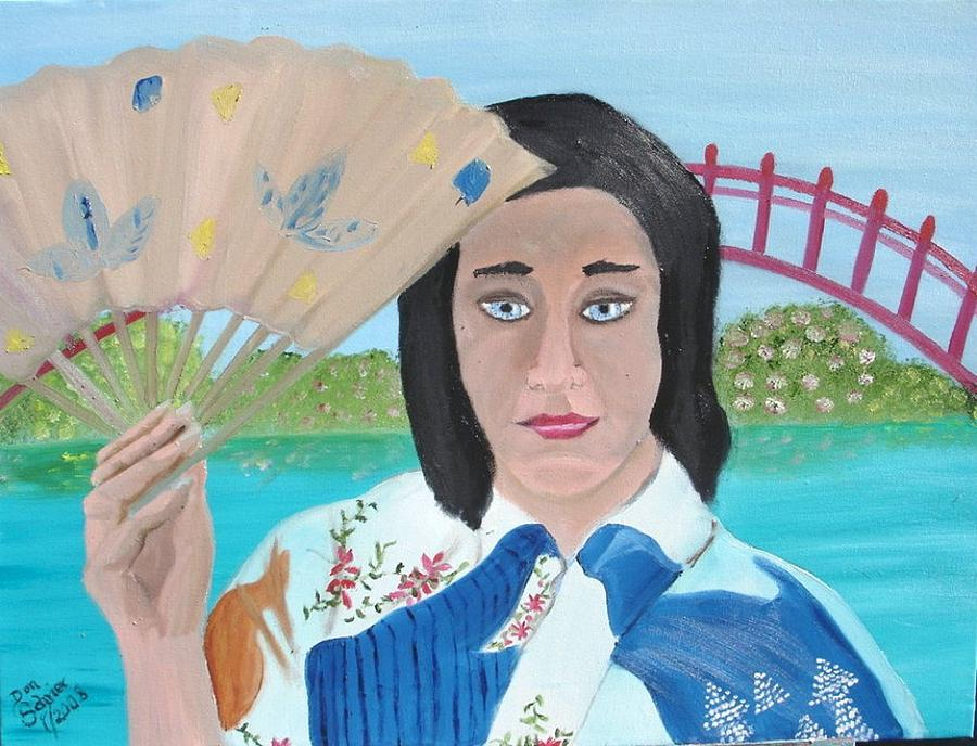 People Painting - Japanese Woman With Fan by Donald Schrier
