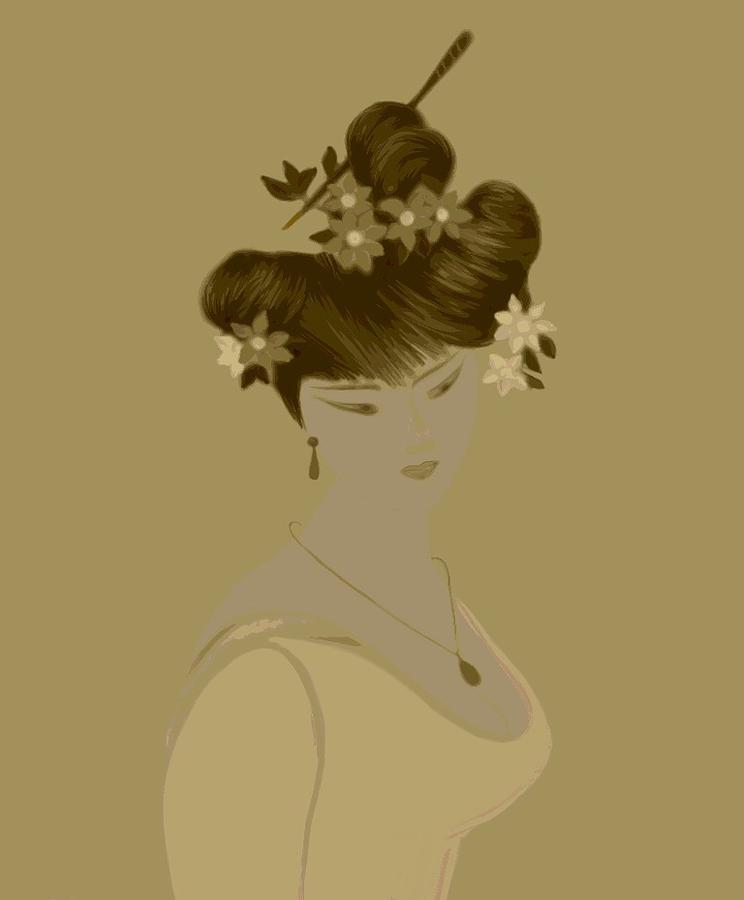Japanise Girl Painting by Emna Bonano