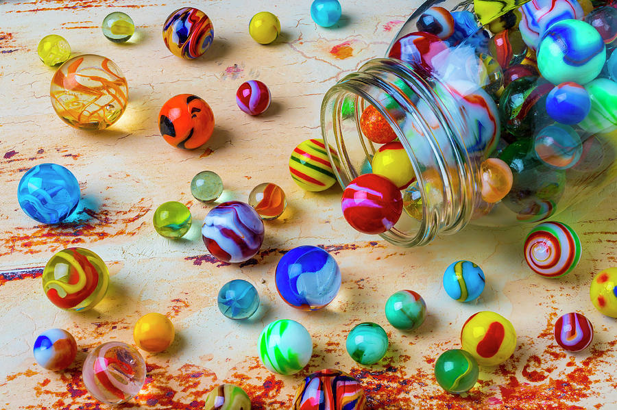 Pile Photograph - Jar Of Childhood Marbles by Garry Gay